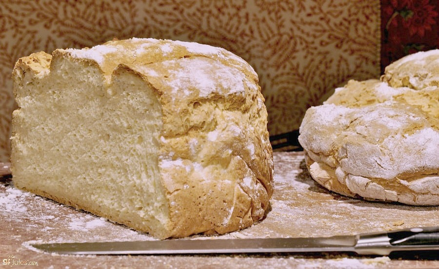 Gluten Free Artisan Bread baked in round pan (on left) and without pan (on right).