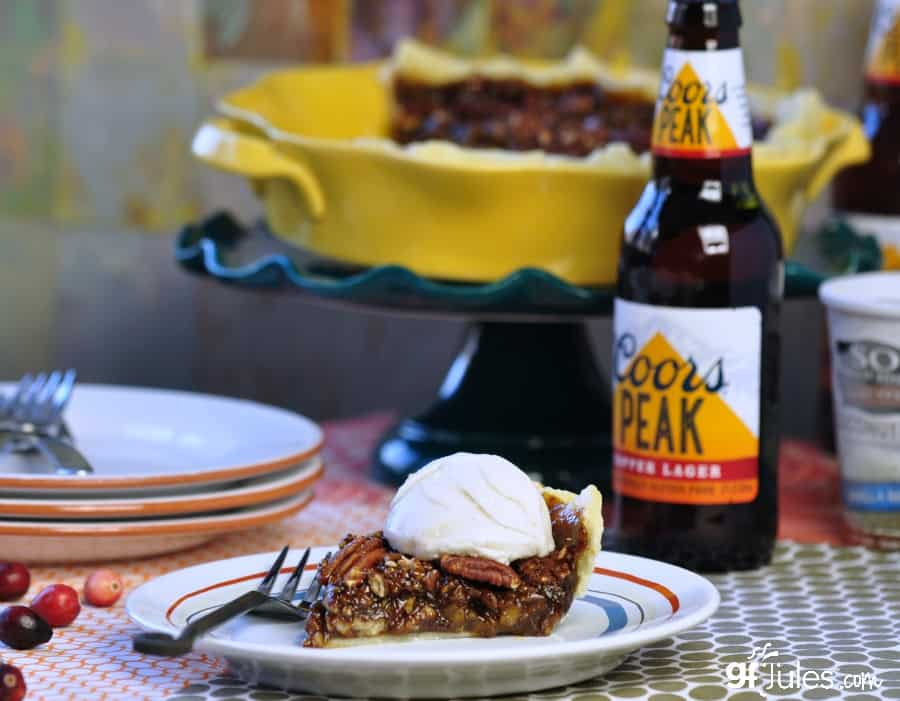gluten free pecan pie slice with coors and so delicious - gfJules