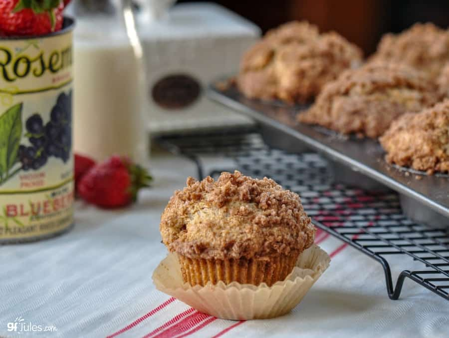 gluten free coffee cake muffin with pan